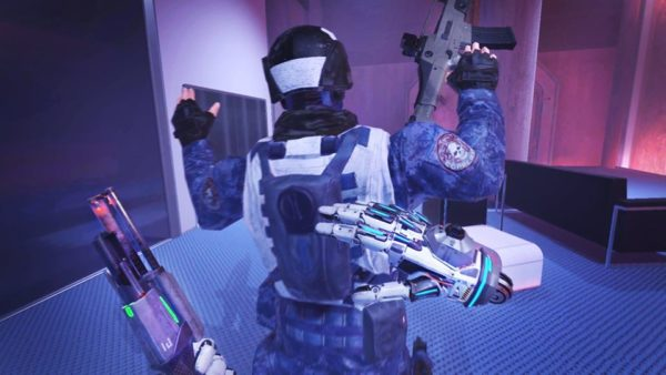 Espire 1 VR Operative says 'Hands Up!'