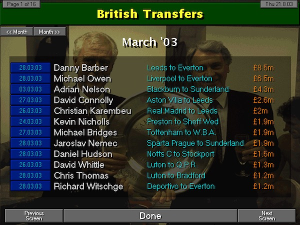Championship Manager 97/98 - transfers